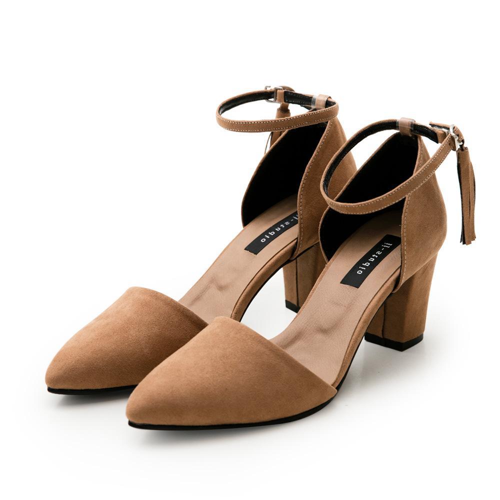 JJ-細絨流蘇踝釦尖頭高跟包鞋 - 棕