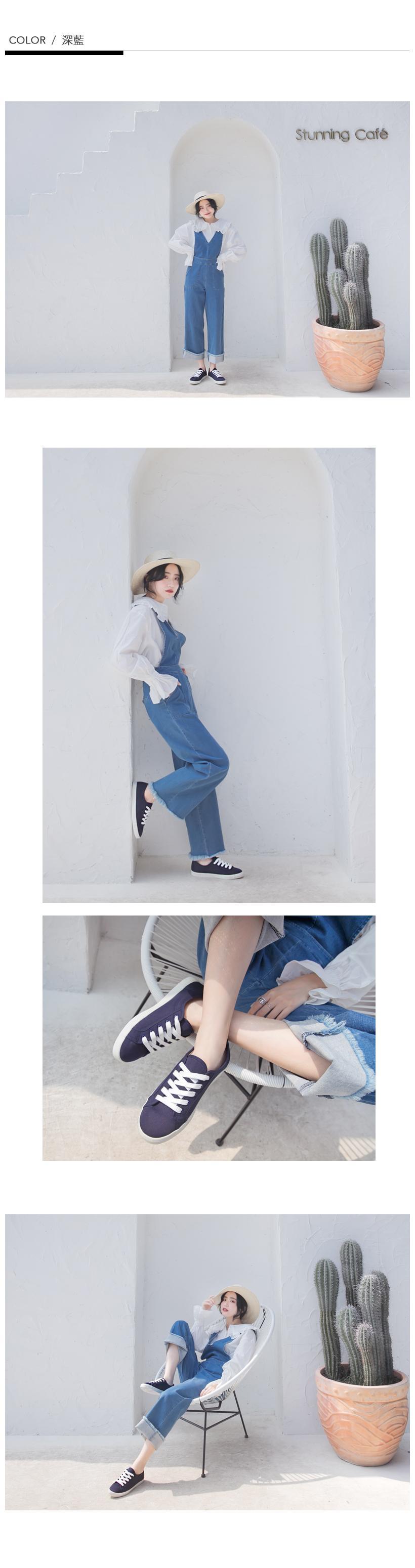 NeuTral-防潑水棉質小白鞋(深藍)-大尺碼