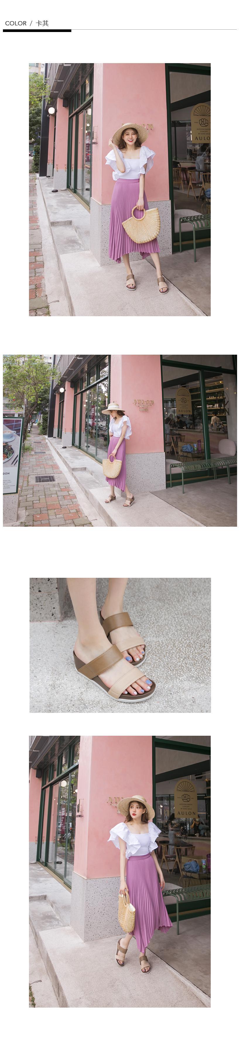 訂製款-二代涼感撞色雙帶楔型拖鞋(卡其)-大尺碼