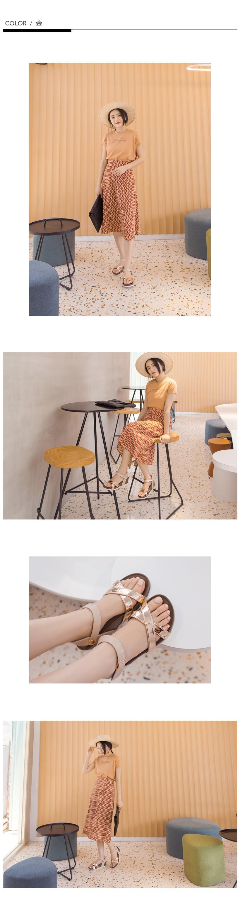 訂製款-美肌補光涼感楔型涼鞋(金)-大尺碼