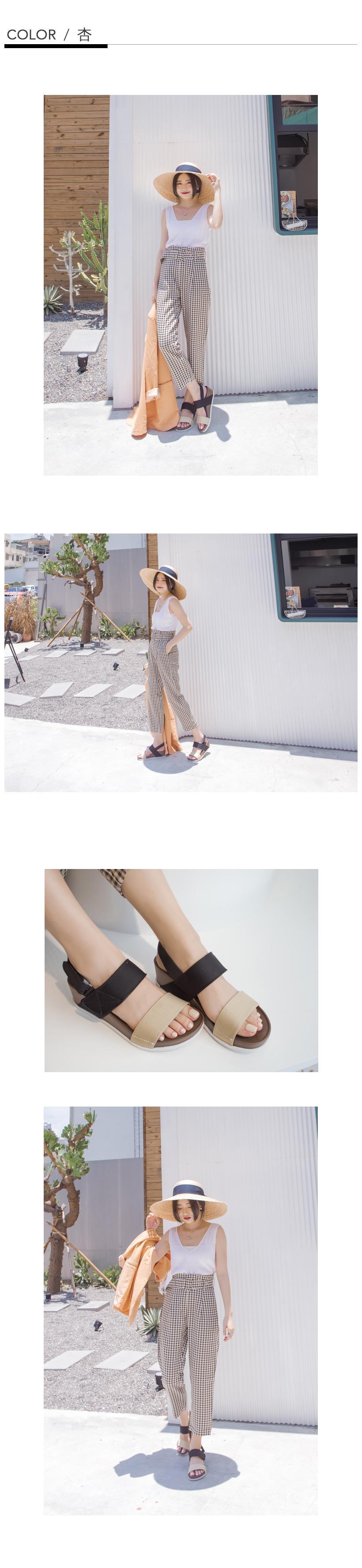 訂製款-防潑水一字撞色楔型涼鞋(杏)-大尺碼