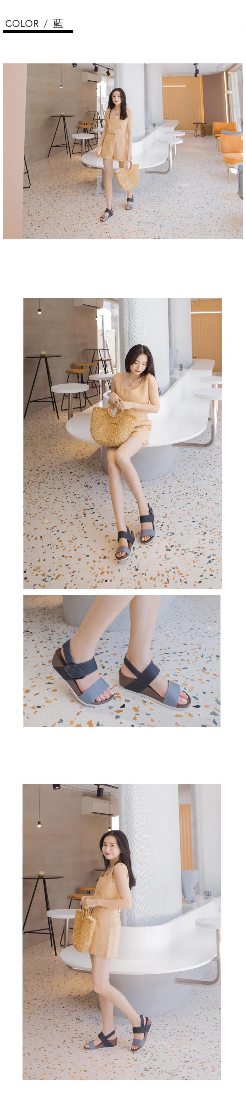 訂製款-防潑水一字撞色楔型涼鞋(粉)-大尺碼