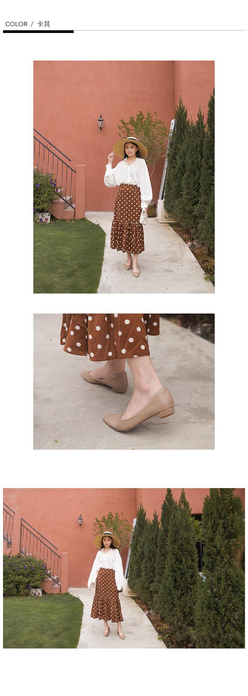 訂製款-防磨腳素面尖頭低跟包鞋(棕)-大尺碼