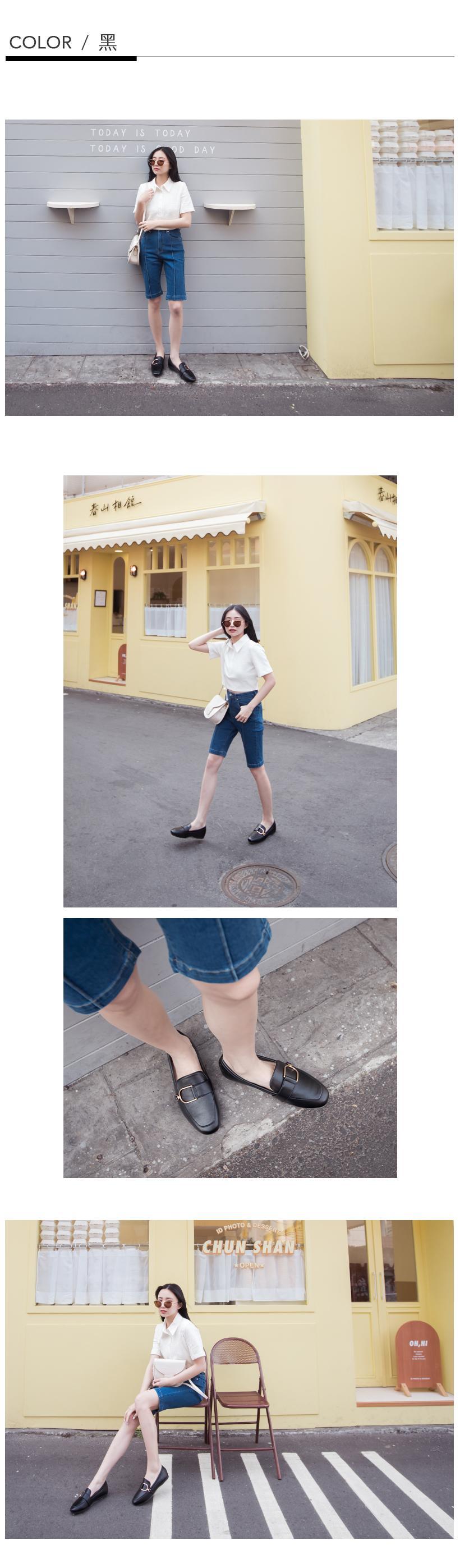 韓-金屬D扣樂福鞋(棕)-大尺碼