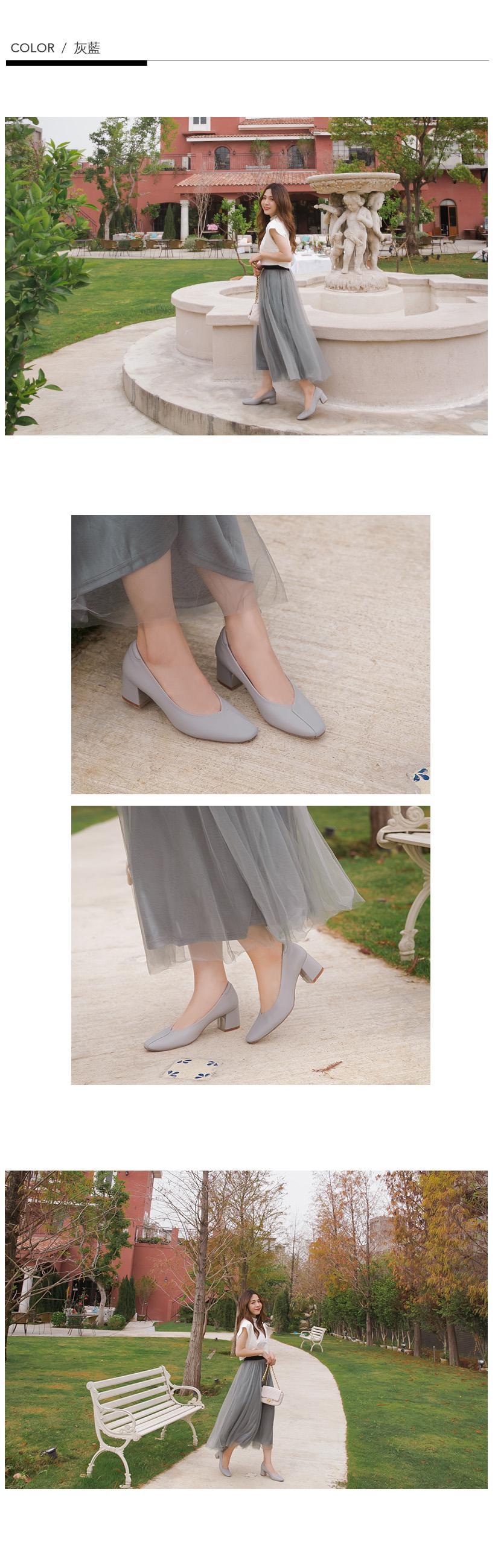 訂製款-荷葉邊小方頭防磨腳高跟鞋(黑)-大尺碼