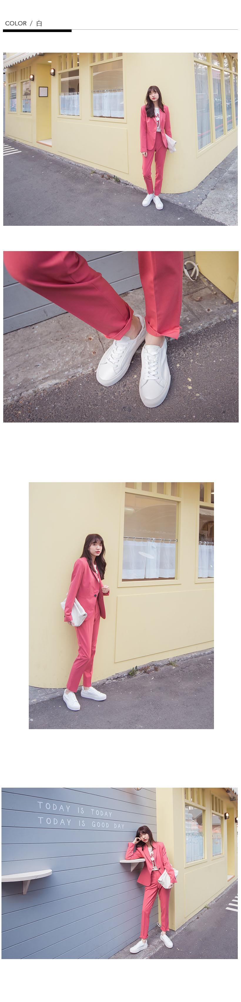 韓-真皮厚底伸縮小白鞋-白