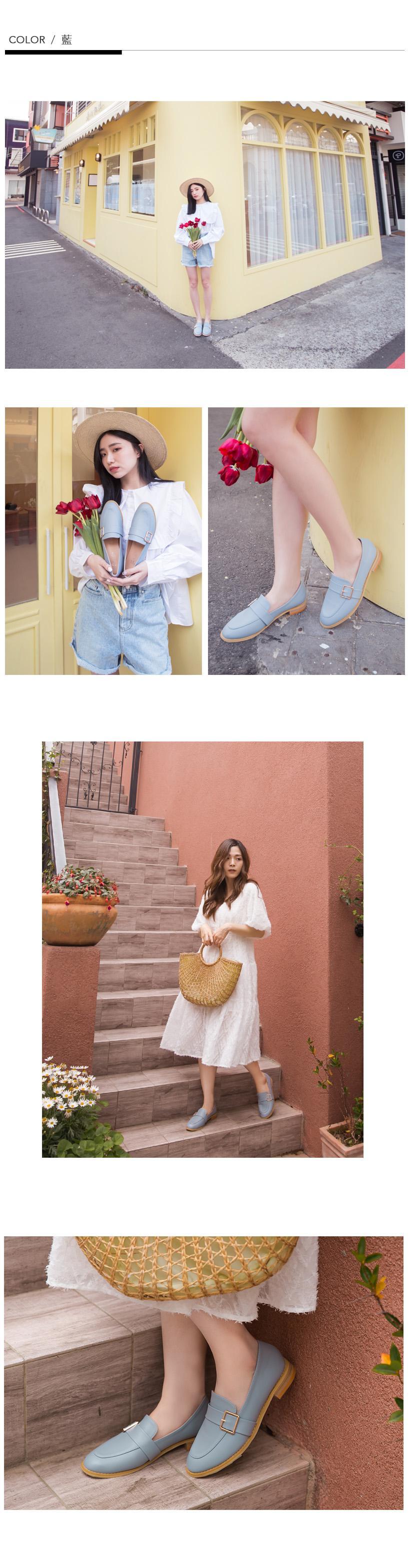 韓-側扣環木跟紳士鞋(棕)-大尺碼