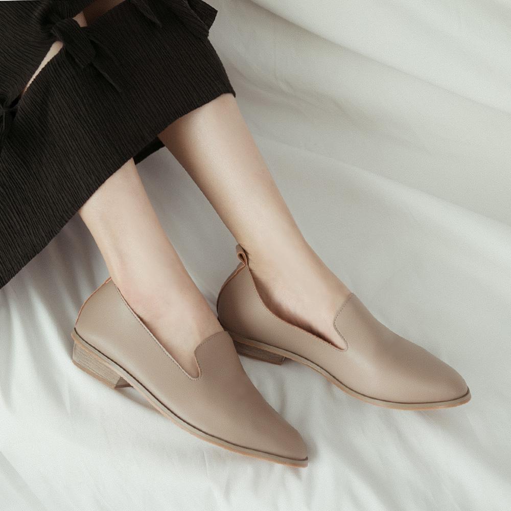 韓-軟革素面樂福鞋-大尺碼,低跟鞋,福樂鞋,大尺寸,大尺碼,大碼
