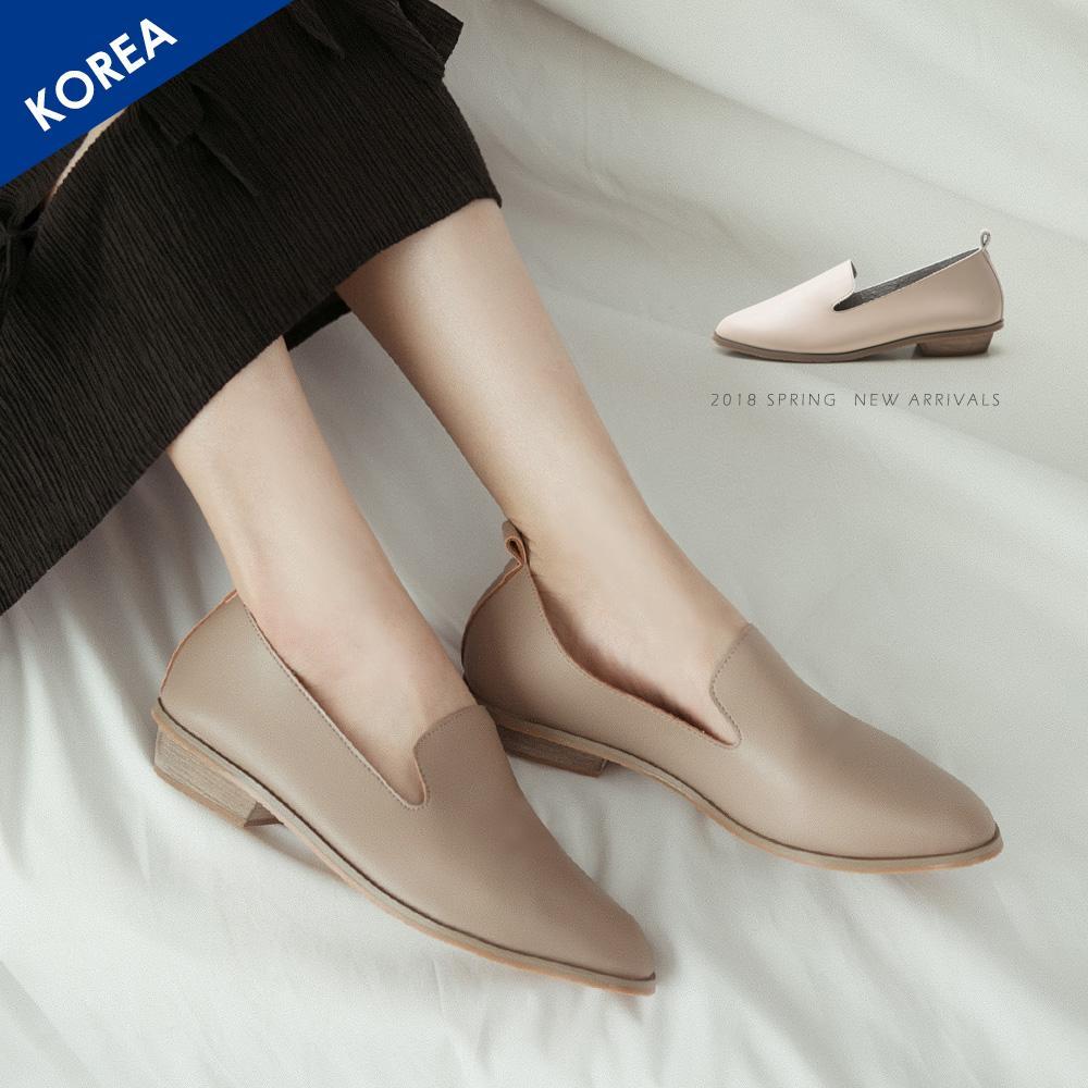 韓-軟革素面樂福鞋-大尺碼