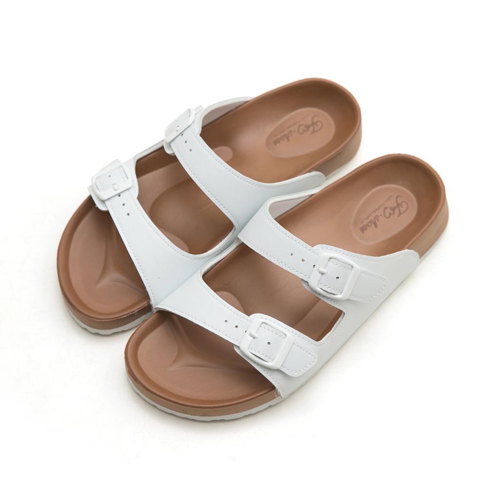 訂製款-雙帶輕量減壓休閒拖鞋-白,經典,超軟,腳床設計,人體工學,防滑