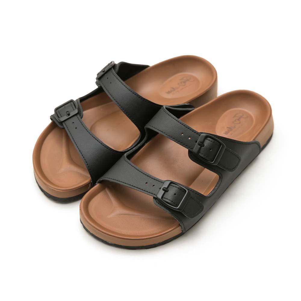 訂製款-雙帶輕量減壓休閒拖鞋-黑,經典,超軟,腳床設計,人體工學,防滑