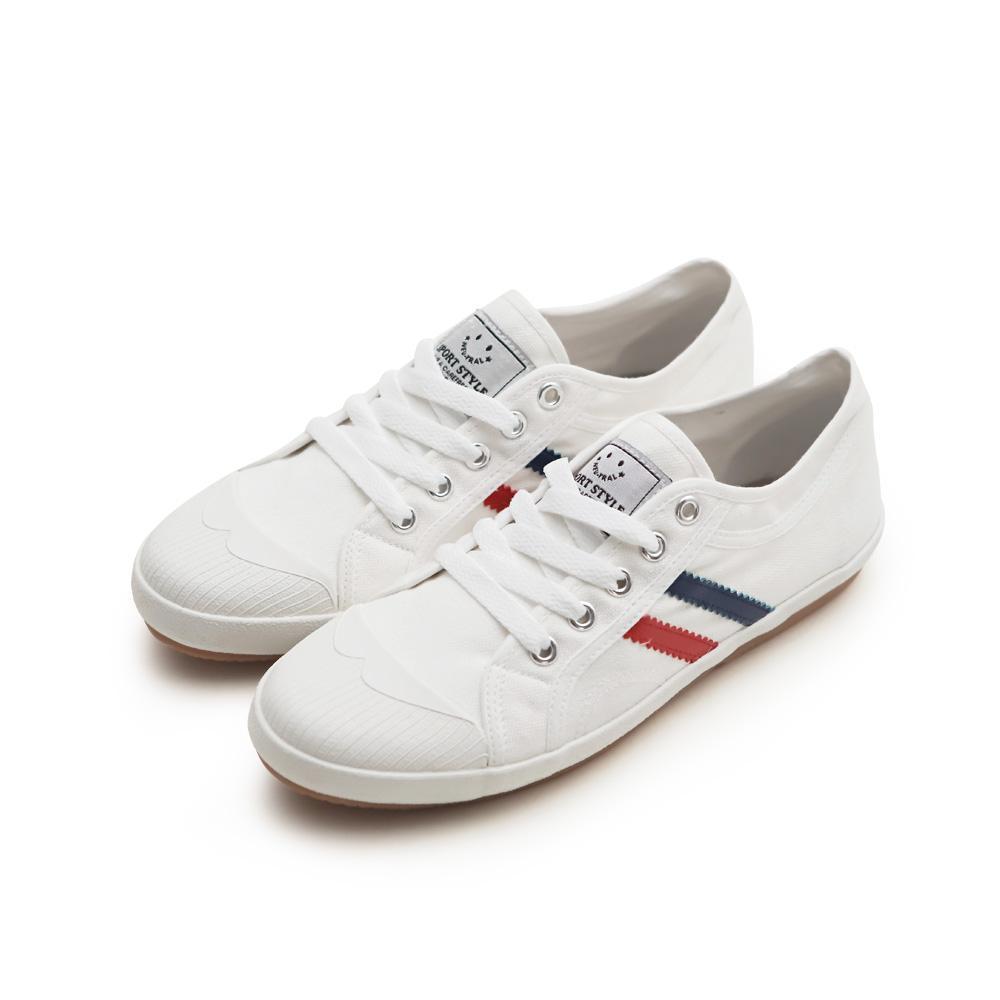 NeuTral-防潑水雙斜紋小白鞋-白,休閒鞋,包鞋,平底鞋,雙線,帆布鞋