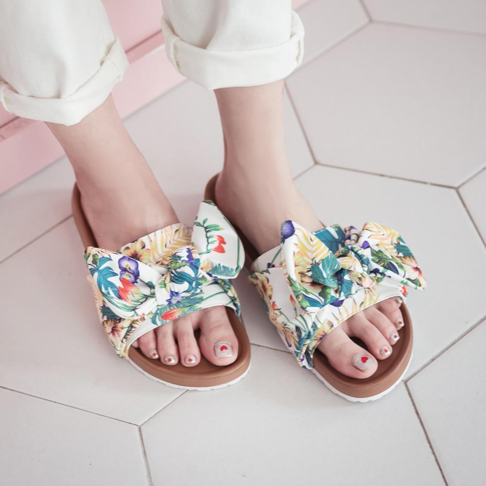 訂製款-花布輕量減壓休閒拖鞋(附同色髮圈)-白,朵結,渡假風,波西米亞,波希,超軟