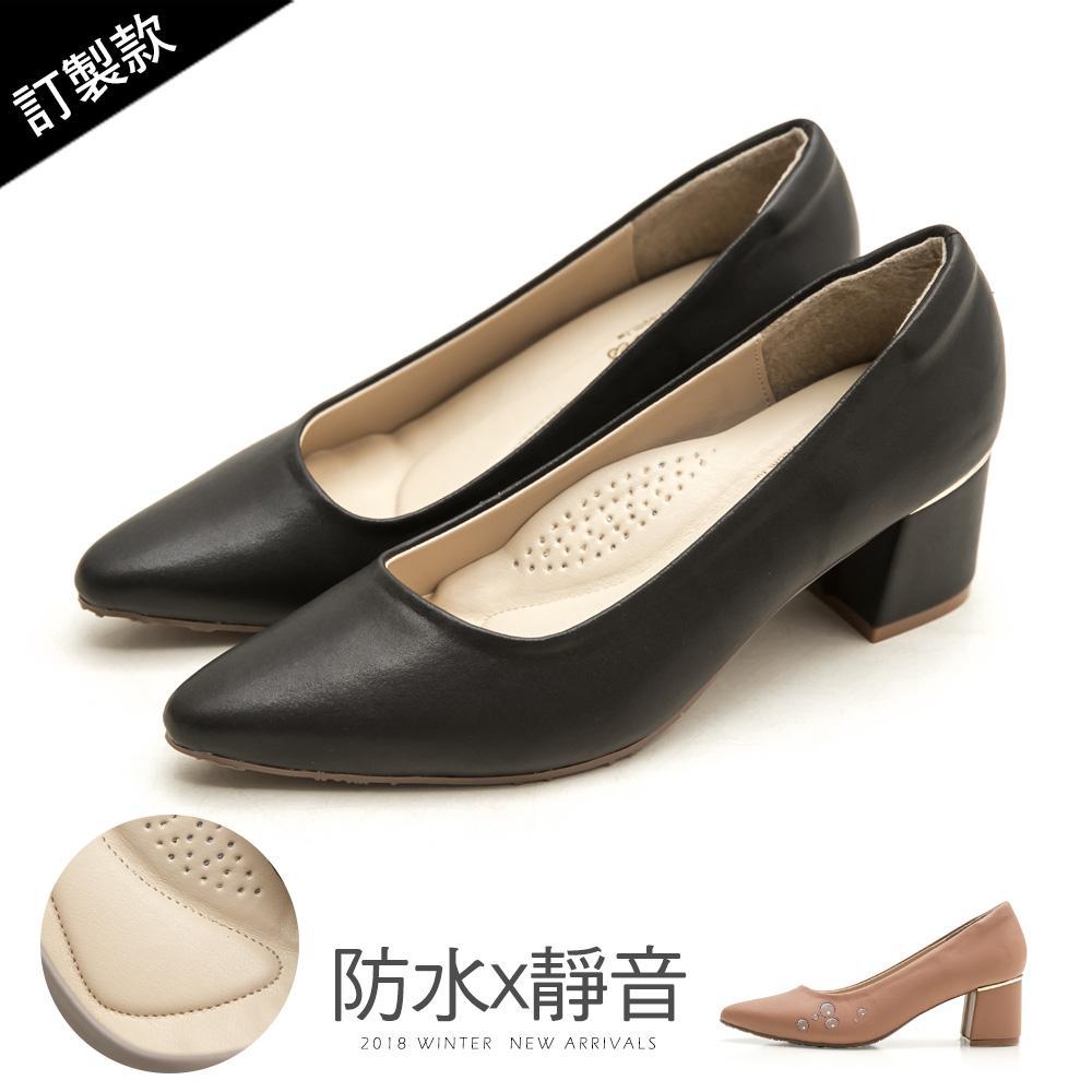 訂製款-莫蘭迪防水高跟鞋 - 黑