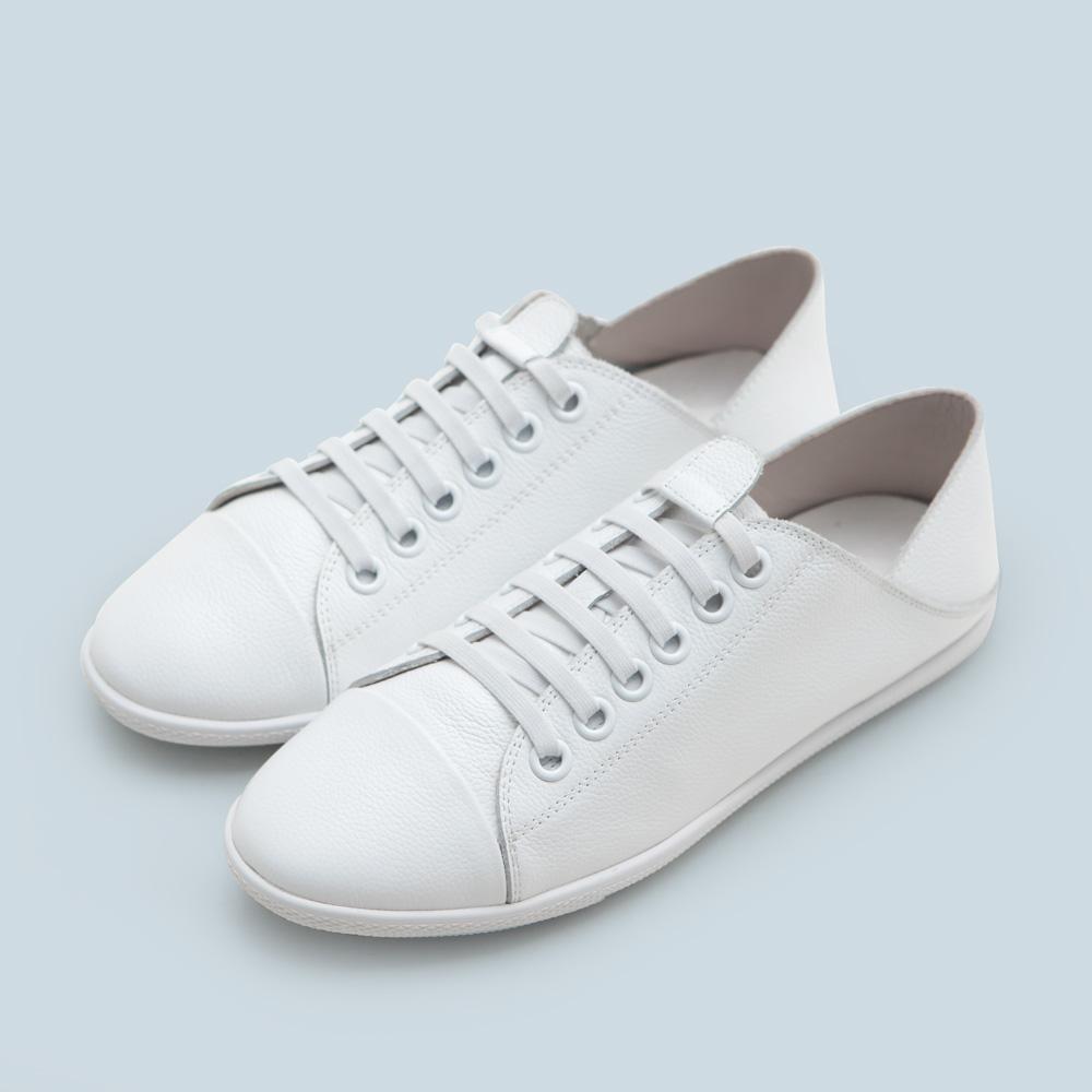 FM collection-真皮免綁帶後踩小白鞋,休閒鞋,包鞋,平底鞋,可後踩,免綁帶