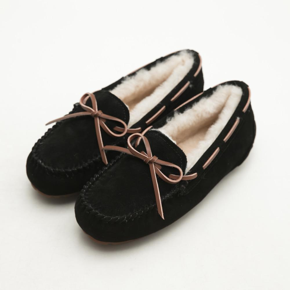 FM collection+5度C極暖防潑水真皮包鞋-黑,莫卡辛,朵結,手工,超軟,通勤鞋