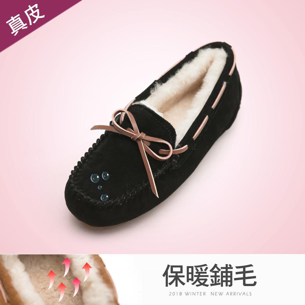 FM collection+5度C極暖防潑水真皮包鞋-黑