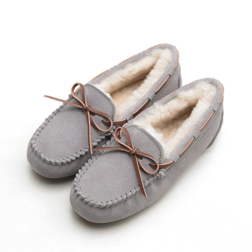 FM collection+5度C極暖防潑水真皮包鞋-淺灰,莫卡辛,朵結,手工,超軟,通勤鞋