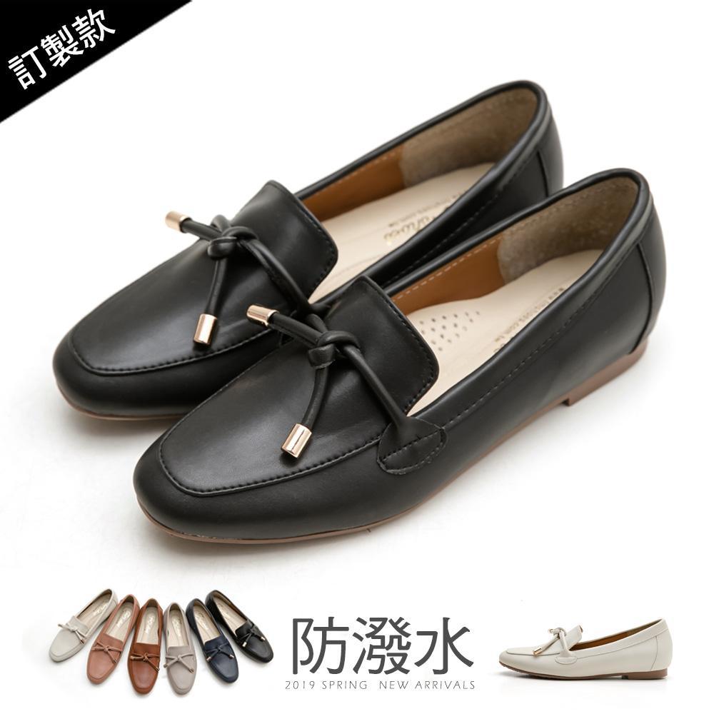 訂製款-防潑水朵結樂福鞋-大尺碼 - 黑