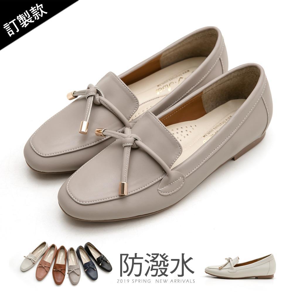 訂製款-防潑水朵結樂福鞋-大尺碼 - 灰
