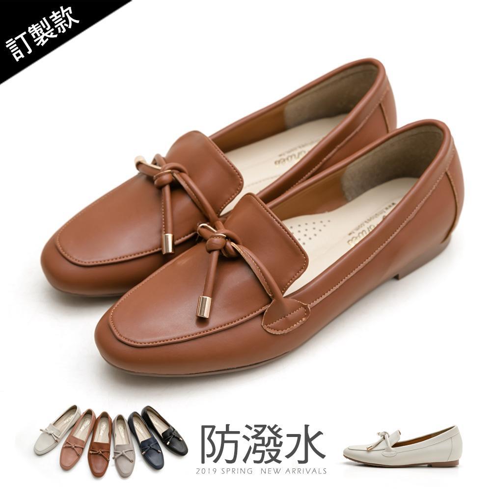 訂製款-防潑水朵結樂福鞋-大尺碼 - 咖