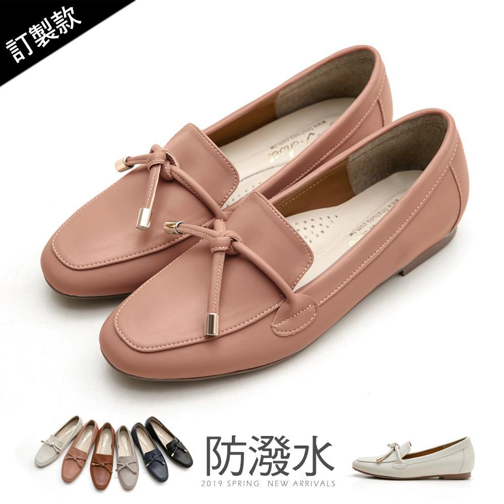 訂製款-防潑水朵結樂福鞋-大尺碼 - 粉