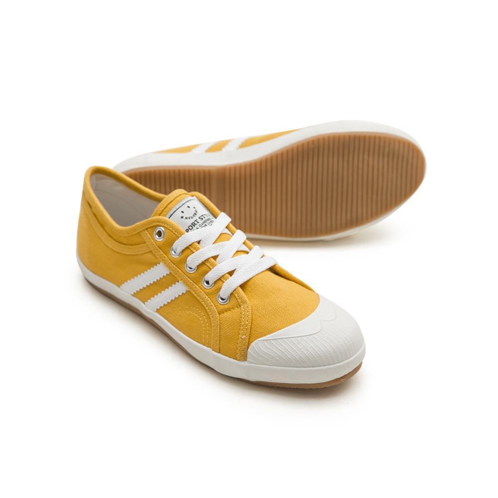 NeuTral-防潑水雙斜紋小白鞋-黃,防水,休閒鞋,雙線,帆布鞋,大尺碼