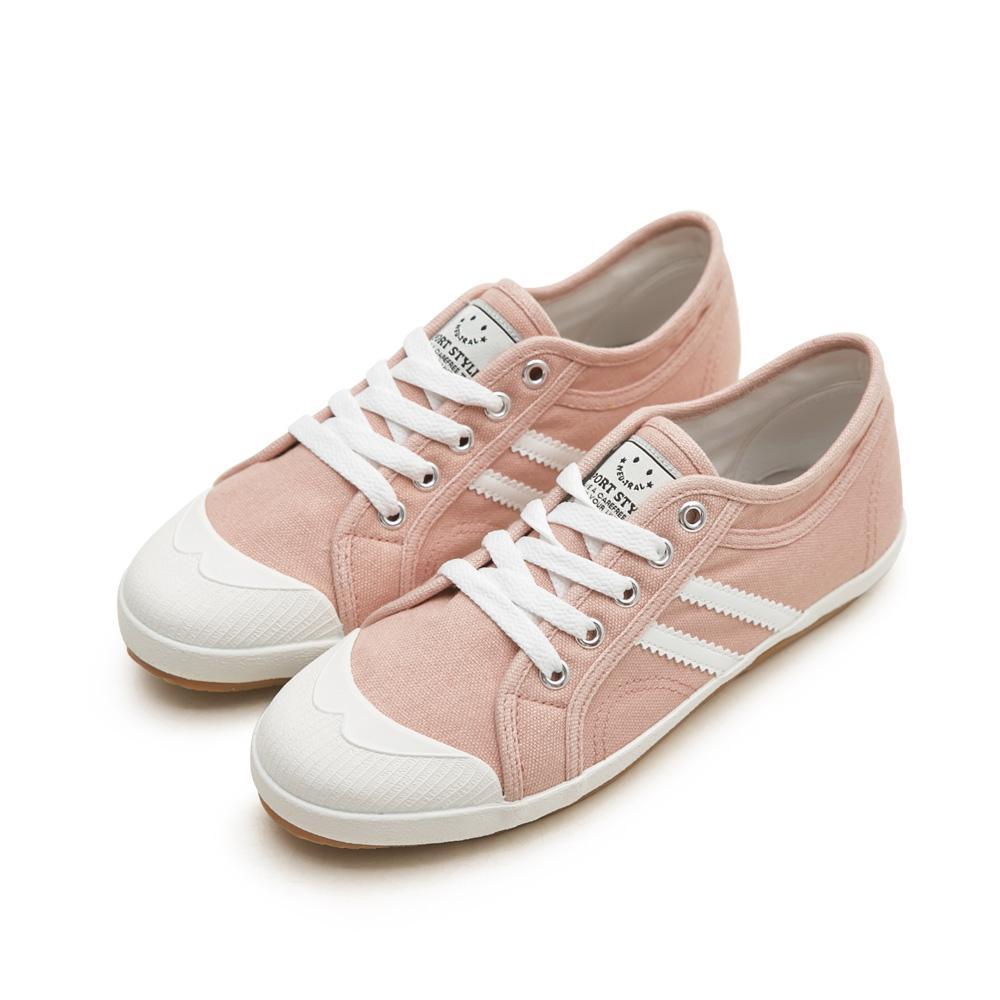 NeuTral-防潑水雙斜紋小白鞋-粉,防水,休閒鞋,雙線,帆布鞋,大尺碼