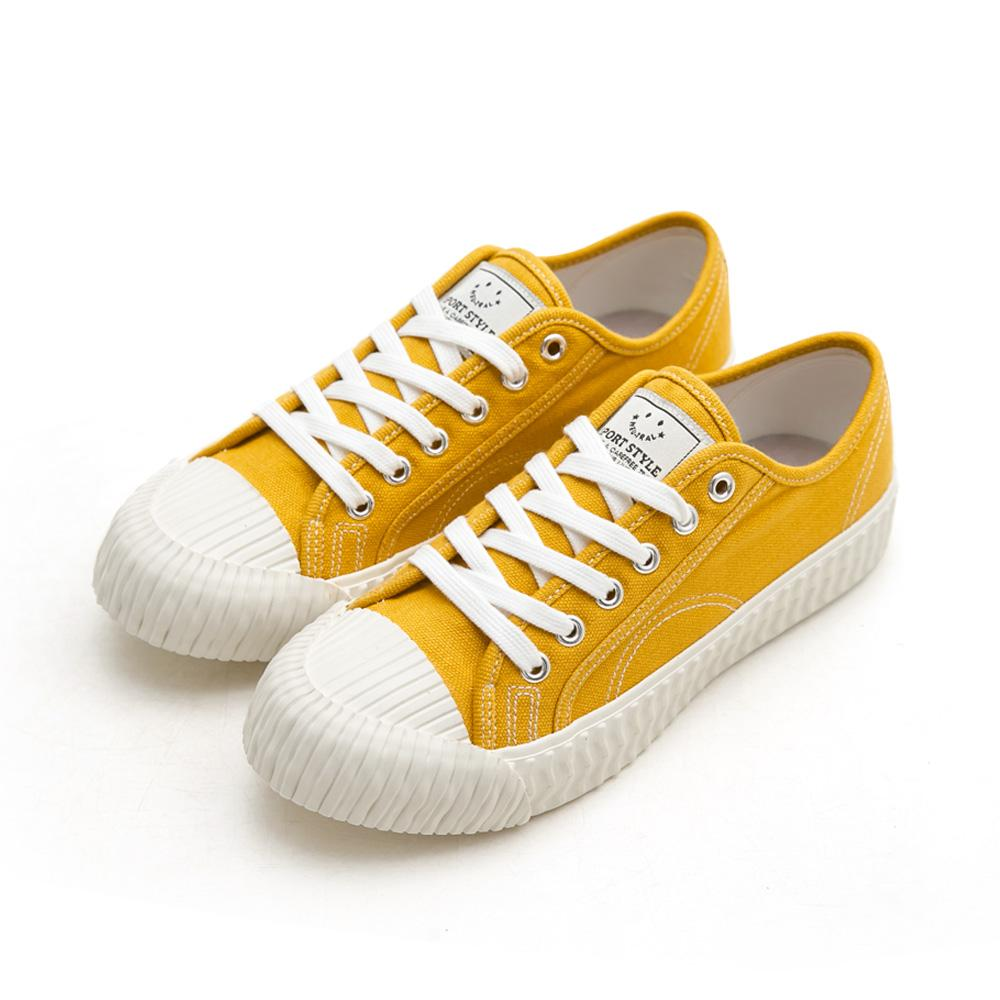 NeuTral-透氣防潑水綁帶餅乾鞋-黃,休閒鞋,包鞋,平底鞋,帆布鞋,繫帶