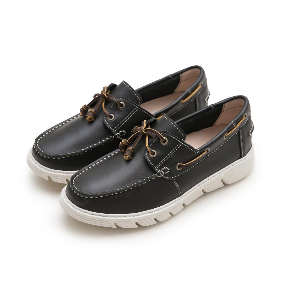 FM collection-真牛皮綁帶帆船鞋-Men,休閒鞋,包鞋,平底鞋,真皮,手工縫線