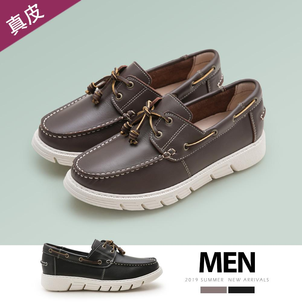 FM collection-真牛皮綁帶帆船鞋-Men