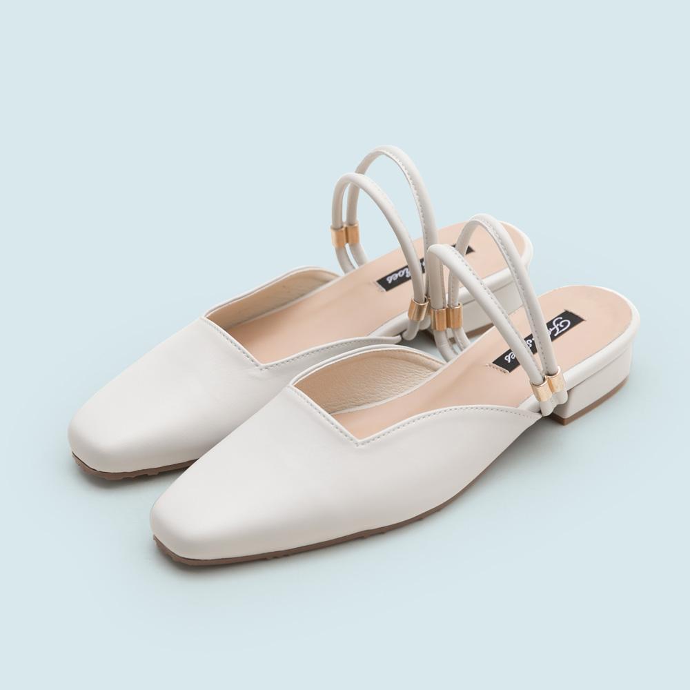 訂製款-2way幾何剪裁穆勒鞋,低跟鞋,便鞋,後空,後挖空,半包