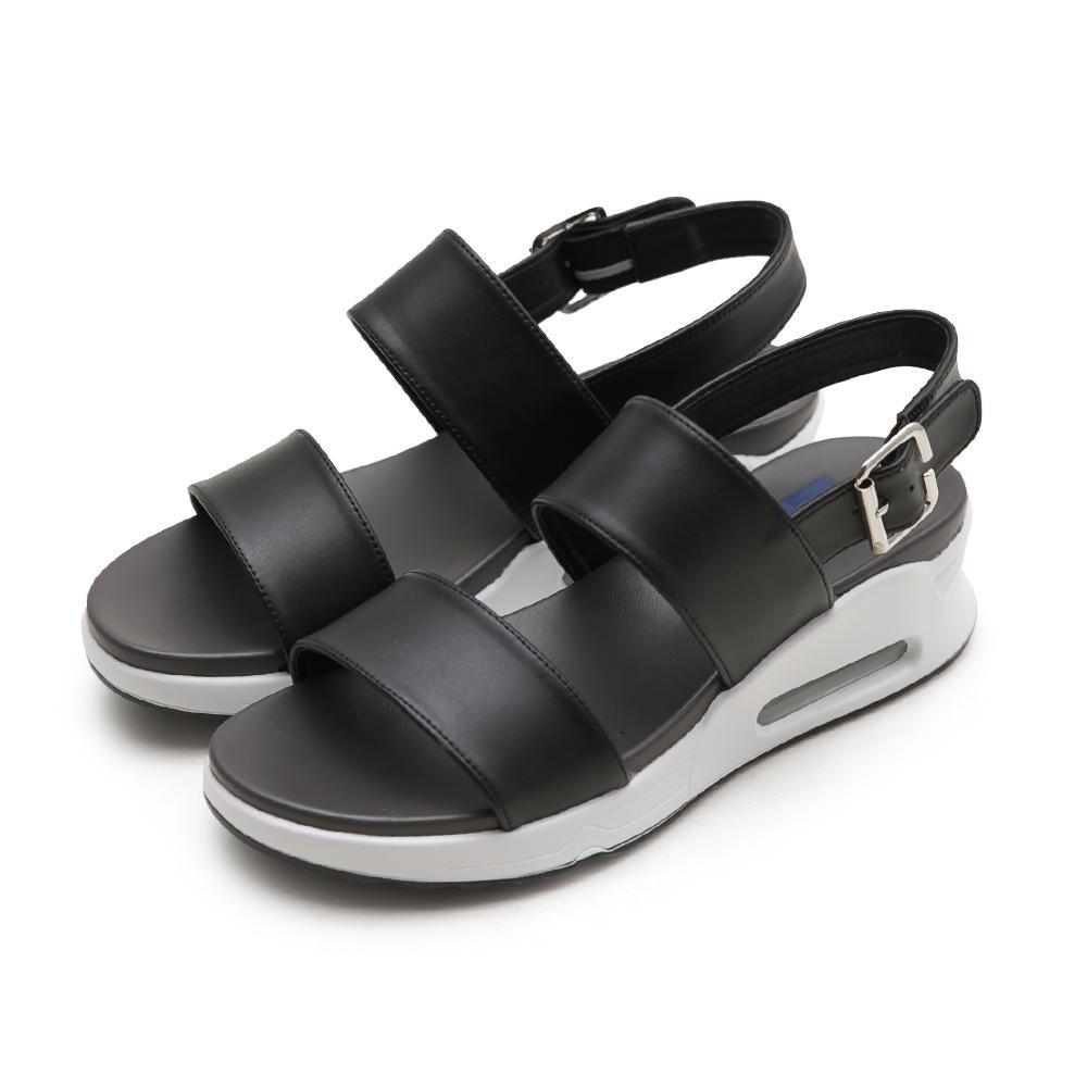 NeuTral-一字寬帶氣墊涼鞋-黑,氣墊鞋,休閒涼鞋,增高鞋,運動涼鞋,平底鞋