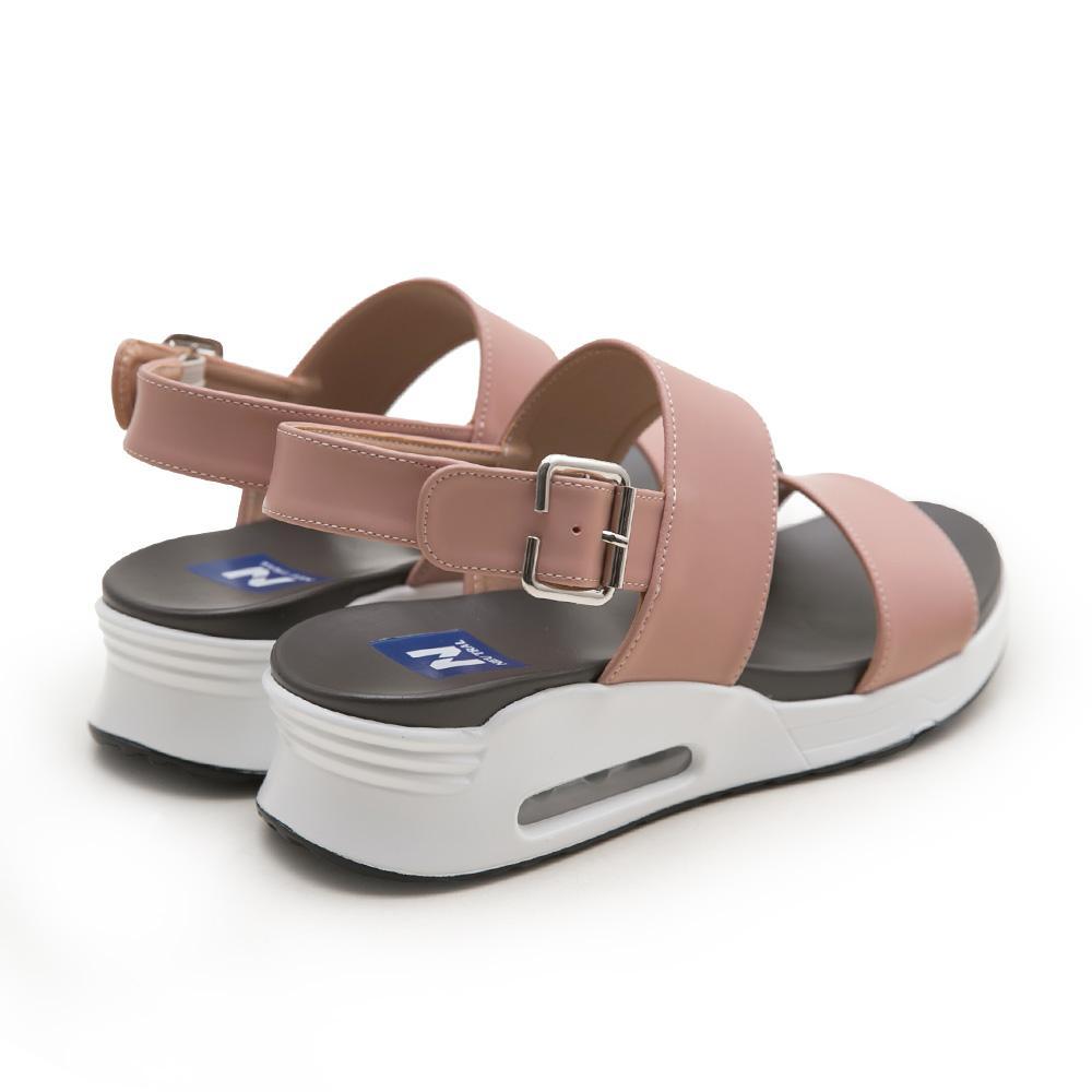 NeuTral-一字寬帶氣墊涼鞋-粉,氣墊鞋,休閒涼鞋,增高鞋,運動涼鞋,平底鞋