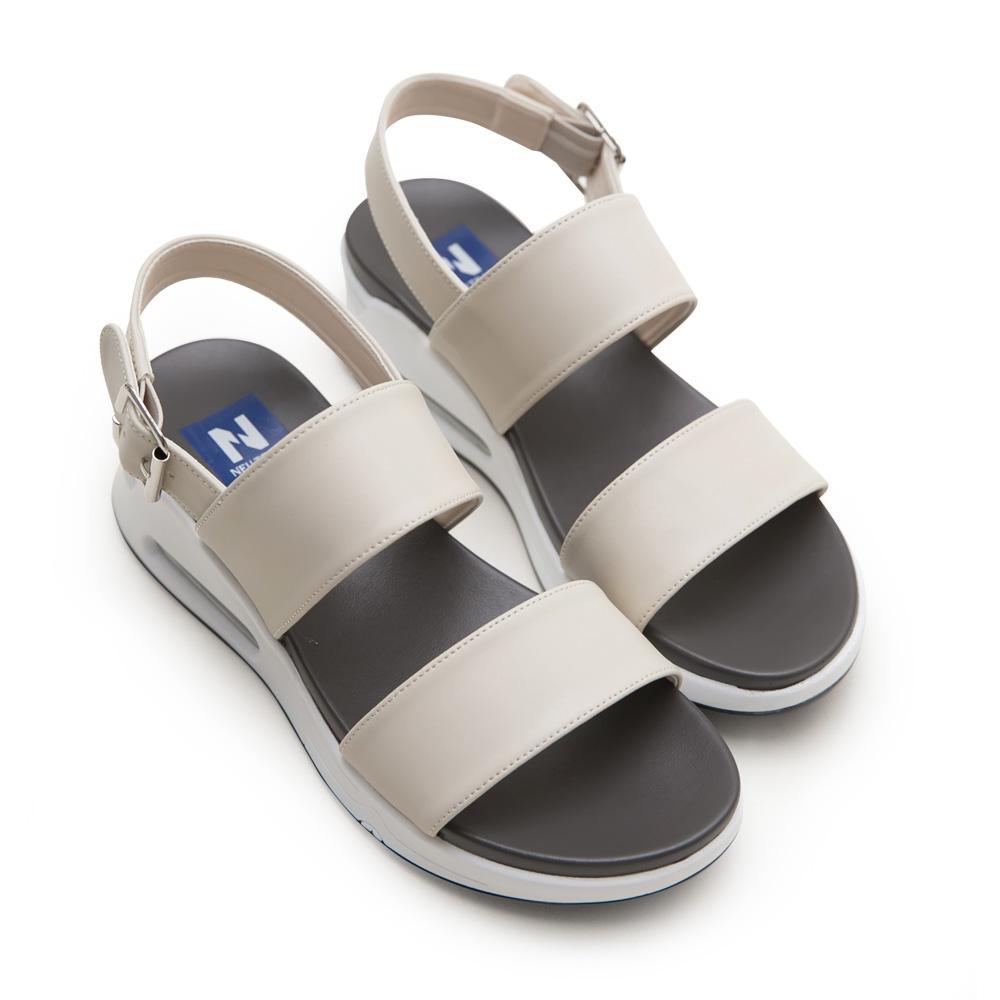 NeuTral-一字寬帶氣墊涼鞋-杏,氣墊鞋,休閒涼鞋,增高鞋,運動涼鞋,平底鞋