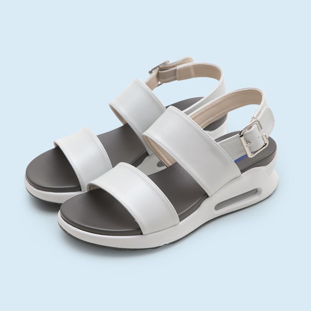 NeuTral-一字寬帶氣墊涼鞋-白,氣墊鞋,休閒涼鞋,增高鞋,運動涼鞋,平底鞋