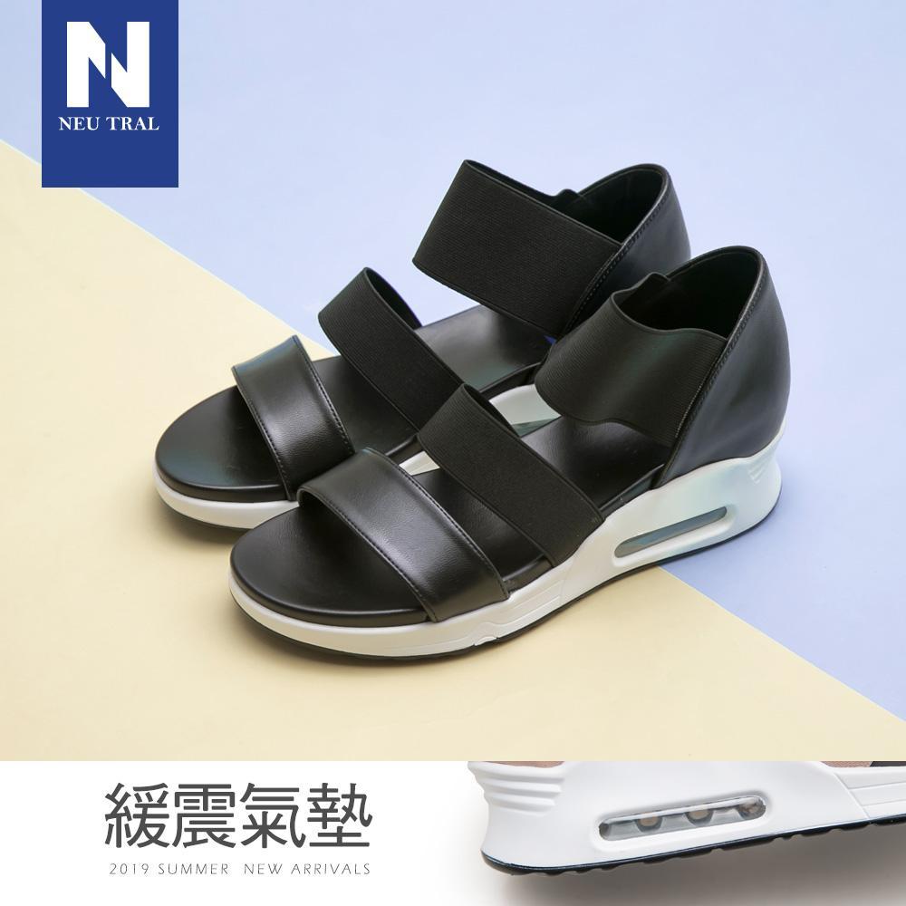 NeuTral-彈性織帶氣墊涼鞋-黑