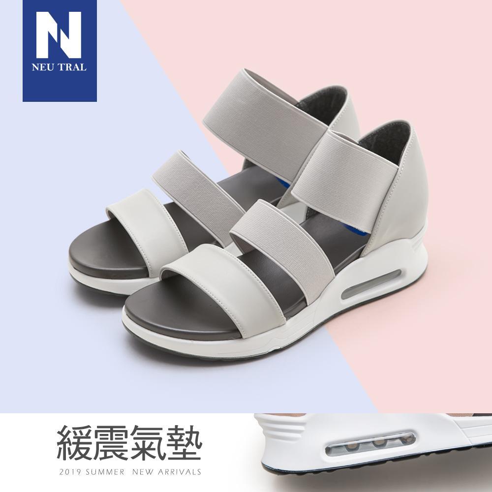 NeuTral-彈性織帶氣墊涼鞋-灰