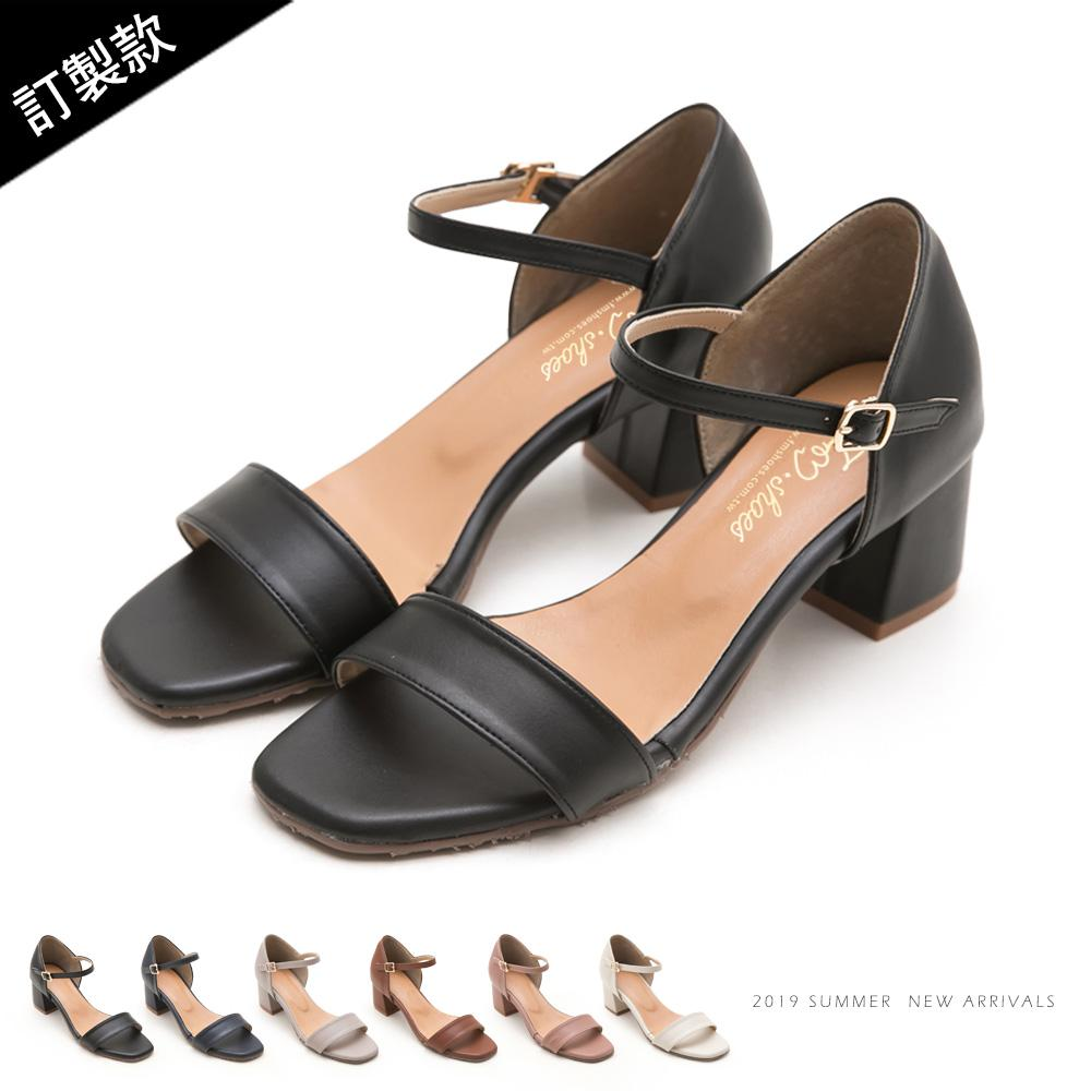 訂製款-一字帶後包高跟涼鞋 - 黑