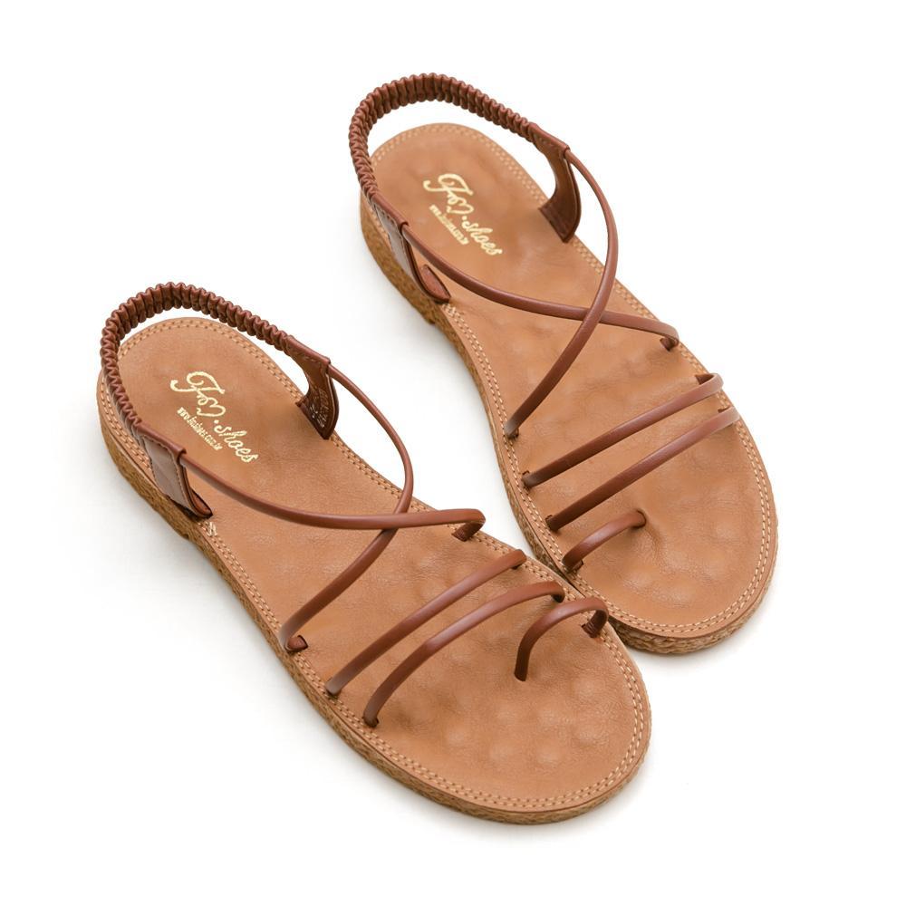韓-細帶交叉按摩墊涼鞋-大尺碼,大尺寸,大碼,按摩涼鞋,可彎折,交叉帶