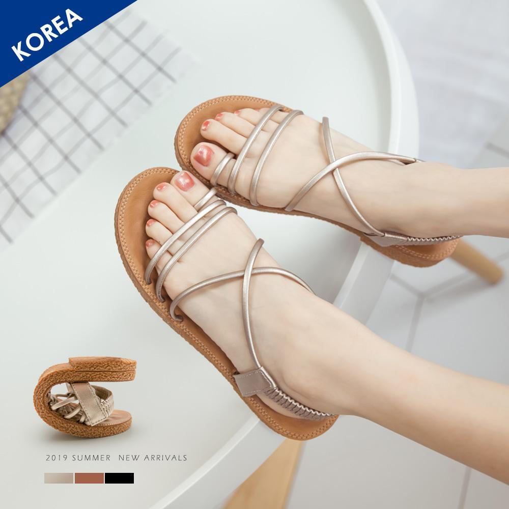 韓-細帶交叉按摩墊涼鞋-大尺碼