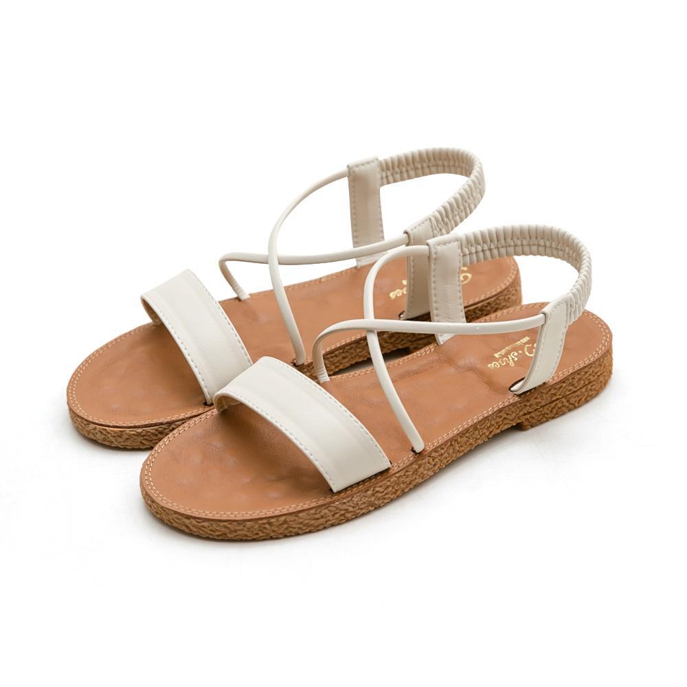 韓-一字彈性踝帶按摩墊涼鞋-大尺碼,ㄧ字,大尺寸,大碼,按摩涼鞋,可彎折