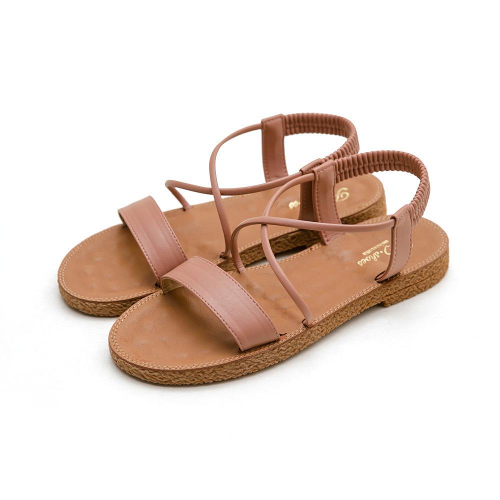 正韓-一字彈性踝帶按摩墊涼鞋-大尺碼,ㄧ字,大尺寸,大尺碼,大碼,按摩涼鞋