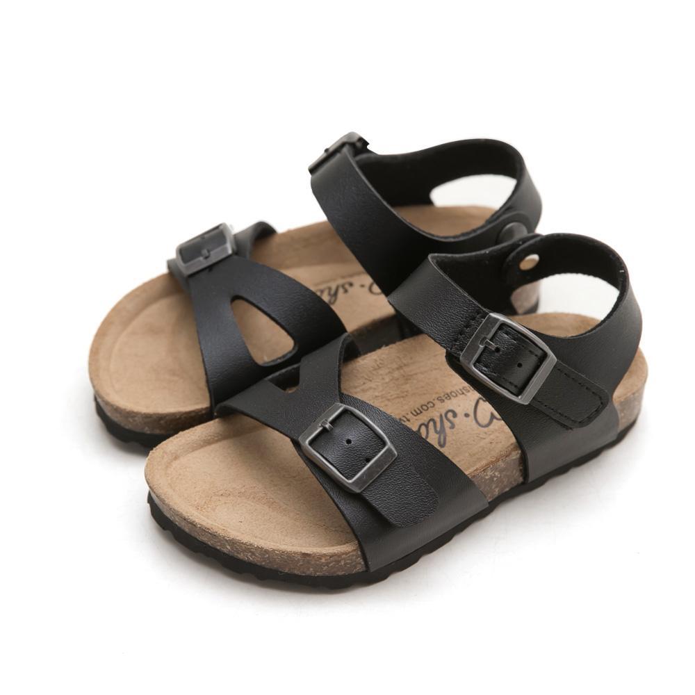 訂製款-魔鬼氈配色休閒涼鞋-Kid,人體工學腳床,稻穀,真麂皮鞋墊,真皮鞋墊,健康鞋