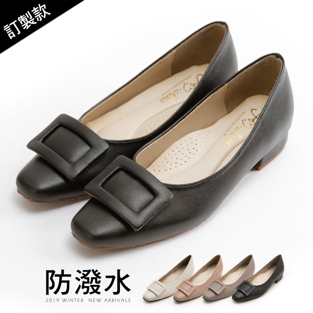 訂製款-方包釦紓壓低跟包鞋-大尺碼 - 黑