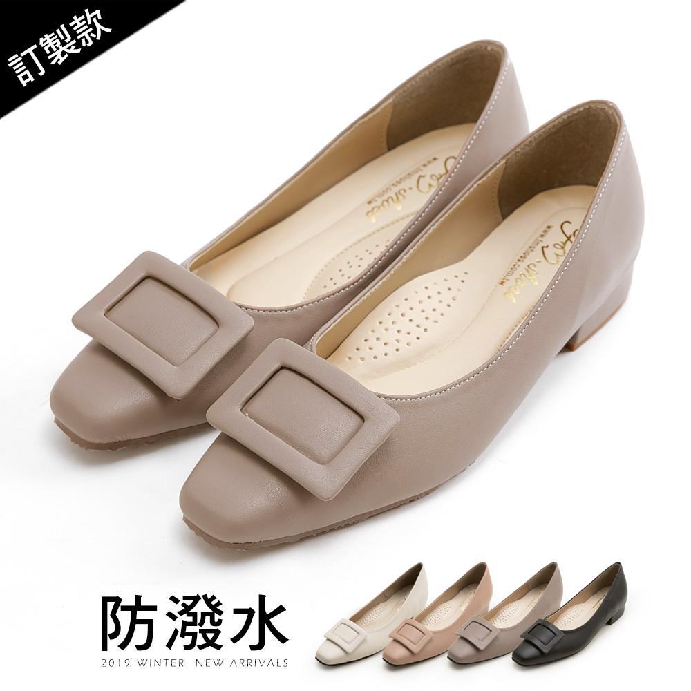 訂製款-方包釦紓壓低跟包鞋-大尺碼 - 灰