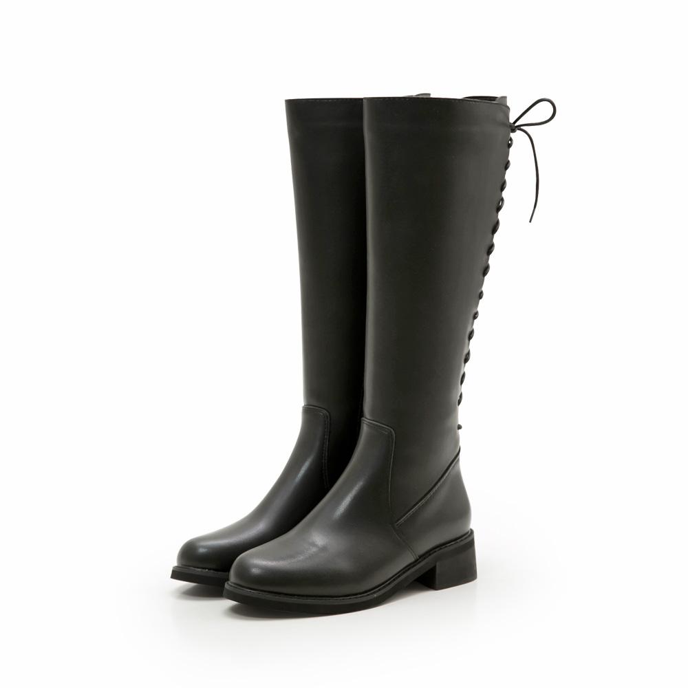 韓-防潑水內磨毛後馬甲長靴-大尺碼(限宅配),靴子,長筒靴,及膝靴,馬靴,低跟靴
