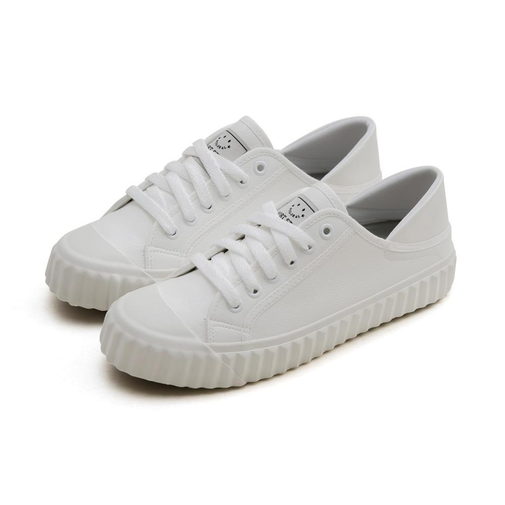 NeuTral-2way防潑水後踩餅乾鞋(白)-大尺碼,皮革,防磨腳,小白鞋,休閒鞋,帆布鞋