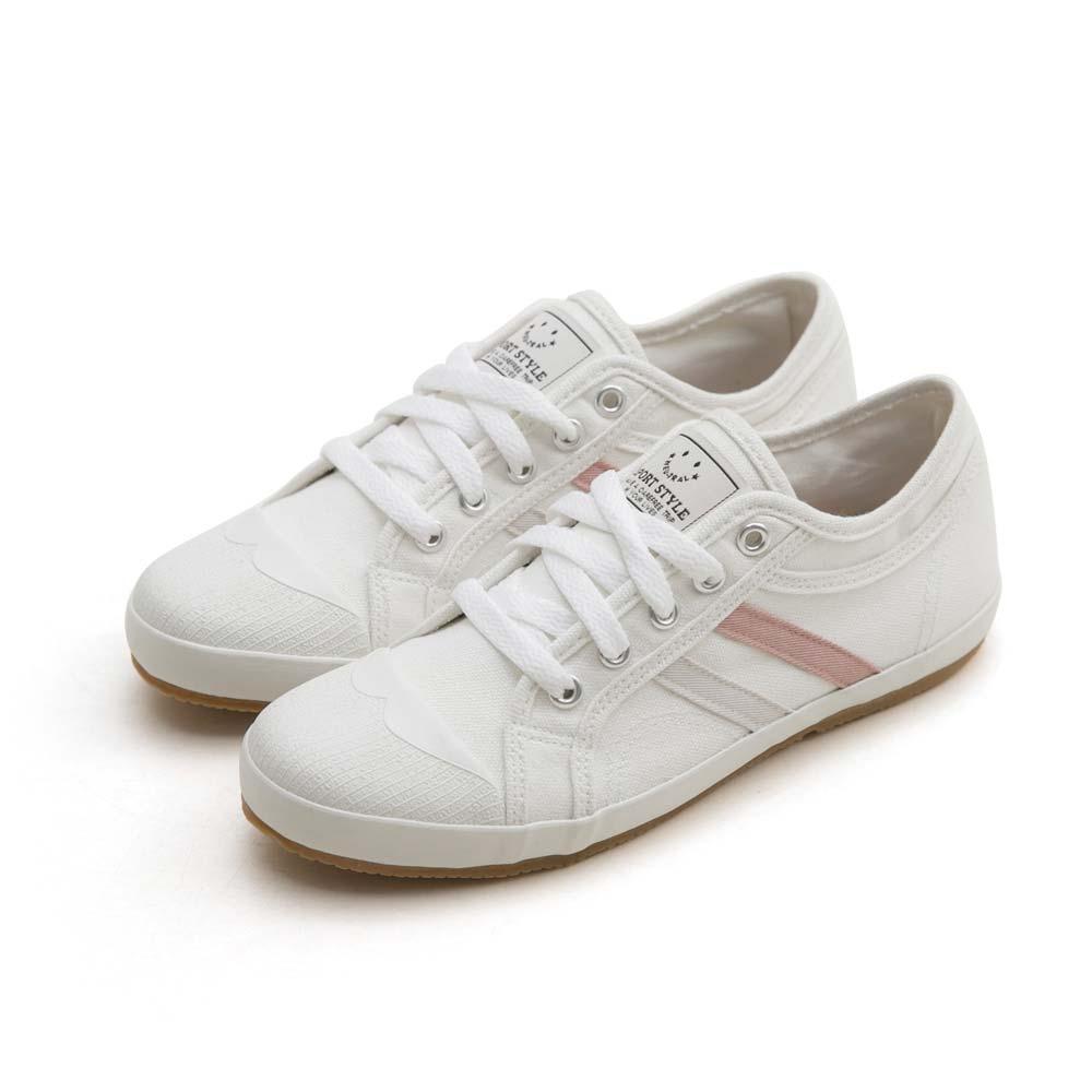 NeuTral-防潑水雙斜紋小白鞋-白粉,休閒鞋,包鞋,平底鞋,雙線,帆布鞋