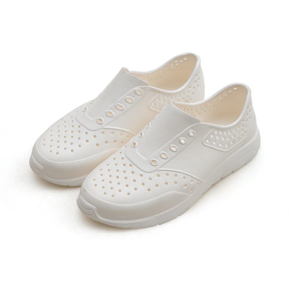 NeuTral-奶油洞洞防水懶人鞋(米白)-大尺碼,平底鞋,包鞋,防水鞋,下雨天,洞洞鞋
